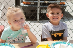 Children enjoying lunch at Florence Crittenton High School's early learning center